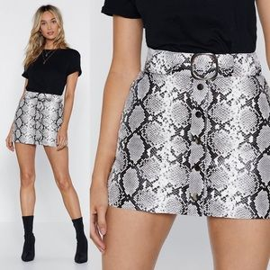 Nasty Gal Faux Leather Snake Mini Skirt